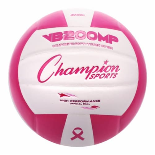 Champion Sports VB2PK Composite Volleyball - Pink & White Perspective: front