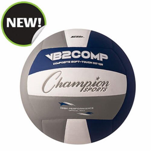 Champion Sports VB2GB 8.25 in. VB Pro Comp Series Volleyball - Gray, Blue & White Perspective: front