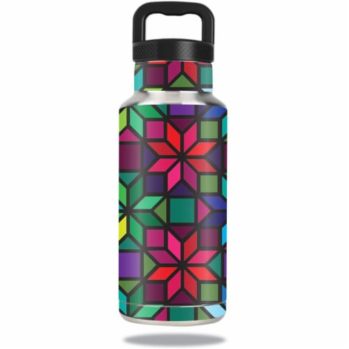 MightySkins OZBOT36-Stained Glass Window Skin for Ozark Trail 36 oz Water Bottle - Stained Gl Perspective: front