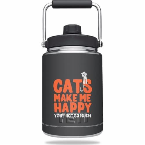 MightySkins YERAMJUG-Cats Make Me Happy Skin for Yeti Rambler 0.5 Gal Jug - Cats Make Me Happ Perspective: front