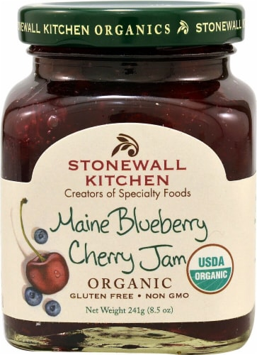 Stonewall Kitchen Organic Maine Blueberry Cherry Jam Perspective: front