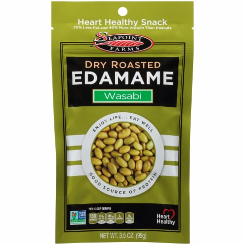 Seapoint Farms Dry Roasted Spicy Wasabi Edamame Perspective: front