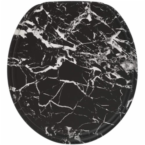 Sanilo 251 Round Soft Close Molded Wood Adjustable Toilet Seat, Marble Black Perspective: front