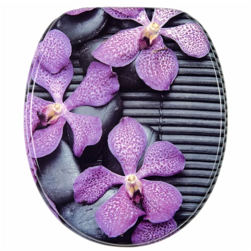 Sanilo 108 Round Soft Close Molded Wood Adjustable Toilet Seat, Vanda Orchids Perspective: front