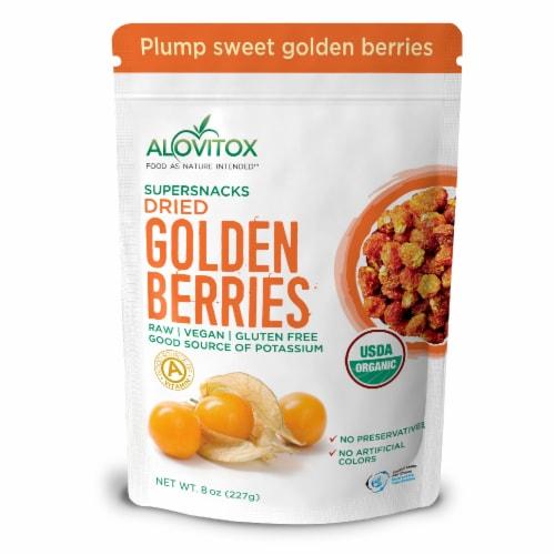 Certified Organic Sun Dried Golden Berries 8 oz | Raw, Vegan, Gluten Free Super Snack Perspective: front