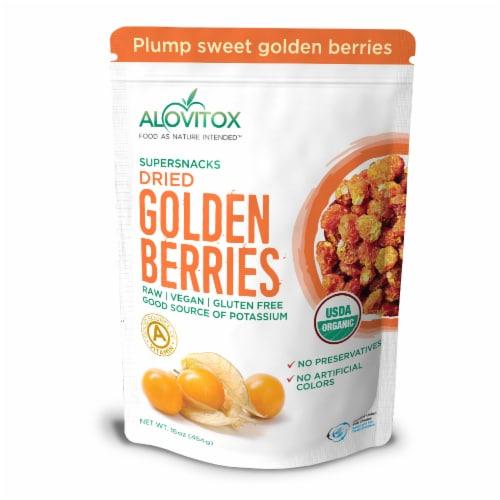 Certified Organic Sun Dried Golden Berries 16 oz | Raw, Vegan, Gluten Free Super Snack Perspective: front