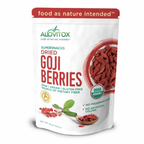 Certified Organic Goji Berries 16 oz | Raw, Vegan, Gluten Free Super Snack Perspective: front