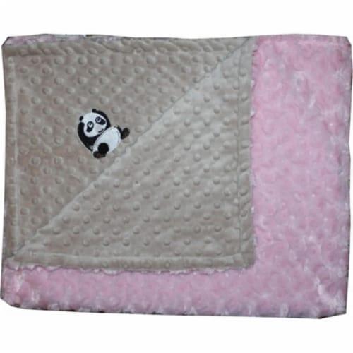 Lil Cub Hub 3BSMPR-M Panda Minky Blanket - Mocha Dot with Pink Rosebud Swirl Perspective: front