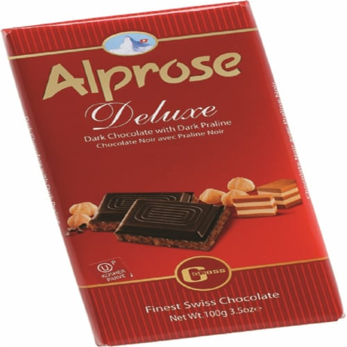 Alprose Dark Chocolate Bar with Hazelnut Praline Perspective: front