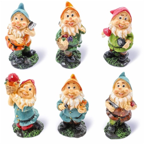 "Juvale 6 Pcs Happy Mini Gnome Figurines Accessories Set for Fairy Gardens, 4"" Perspective: front"