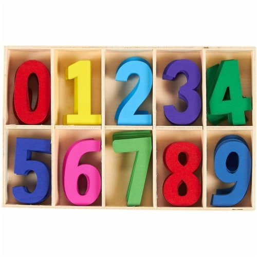 50-Piece Wooden Numbers with Storage Tray, Kids Learning Toy, Assorted Colors Perspective: front