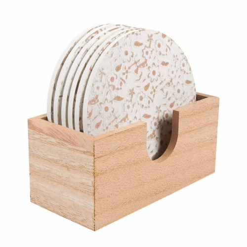 Juvale 6 Pack Round Wood Coasters with Holder, White Floral Design, 3.8 Inches Diameter Perspective: front