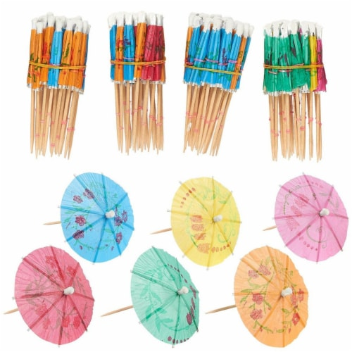 200-Pack Tropical Hawaiian Party Paper Cocktail Umbrella Parasols, Assorted Colors, 4 Inches Perspective: front