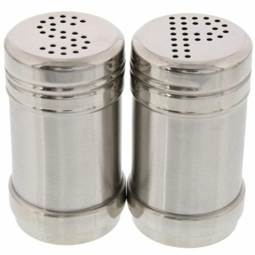 Stainless Steel Salt and Pepper Shakers for Kitchen - 3.5 Inch Perspective: front