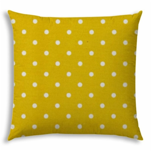 Joita Diner Dot Polyester Jumbo Outdoor Zippered Pillow Cover in Creamy Yellow Perspective: front