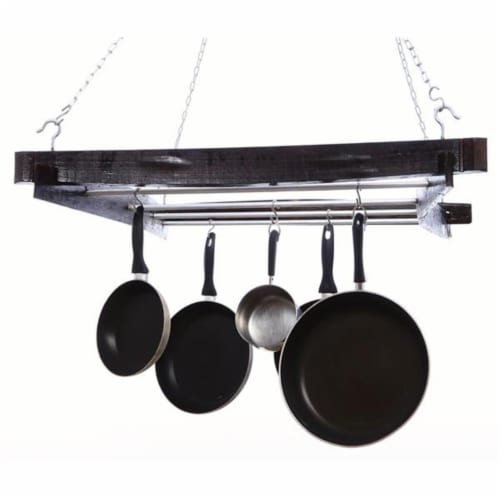 DonovanMaker hang-potrack Wine Barrel Hanging Pot Rack Perspective: front