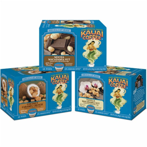 Kauai Coffee Flavored Variety Pack, 36 Single Serve Pods Total Perspective: front