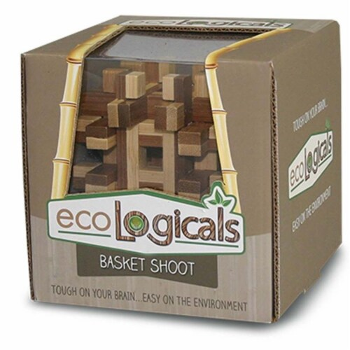 Ecological EC9306 4.2 in. Basket Shoot Puzzle Bamboo Brainteaser Perspective: front