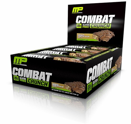 MusclePharm  Combat Crunch Bars   Chocolate Peanut Butter Cup Perspective: front