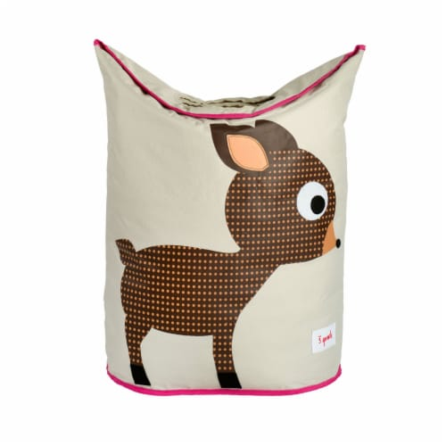 3 Sprouts Baby Laundry Hamper Storage Basket Organizer Bin for Nursery Clothes, Deer Perspective: front