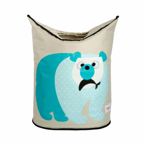 3 Sprouts Baby Laundry Hamper Storage Basket Organizer Bin for Nursery Clothes, Polar Bear Perspective: front