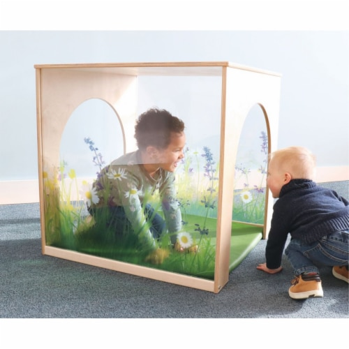 Whitney Brothers WB2452 Nature View Playhouse Cube with Floor Mat Set, Natural Perspective: front