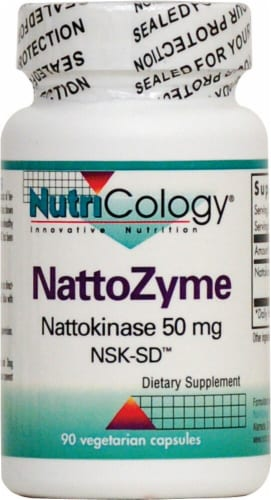NutriCology NattoZyme Dietary Supplement Vegetarian Capsules 50mg Perspective: front