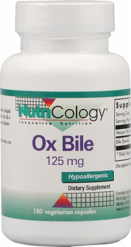 NutriCology Ox Bile 125mg Vegetarian Capsules Perspective: front