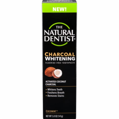 The Natural Dentist Cocomint Charcoal Whitening Toothpaste Perspective: front