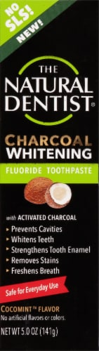 The Natural Dentist Charcoal Whitening Fluoride Toothpaste Perspective: front