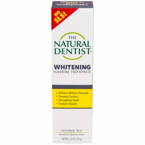The Natural Dentist Peppermint Twist Whitening Fluoride Toothpaste Perspective: front