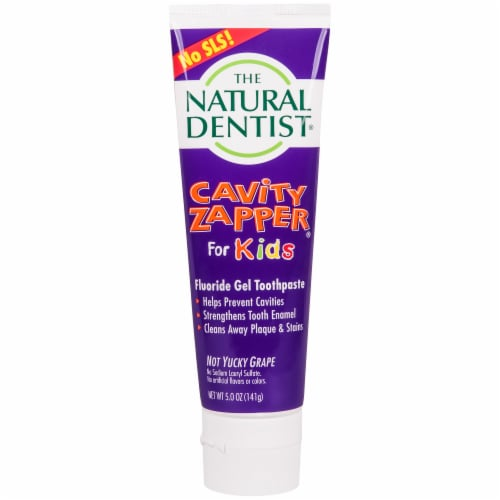 The Natural Dentist Cavity Zapper Fluoride Gel Toothpaste Perspective: front