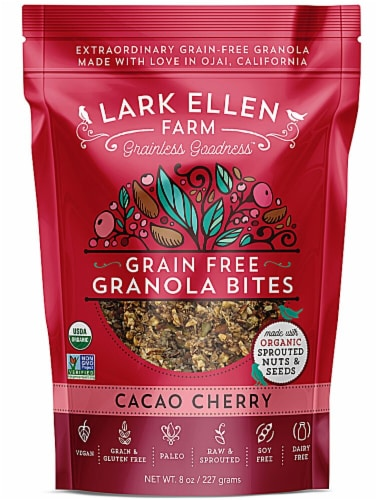 Lark Ellen Farm  Organic Grain Free Granola Bites Gluten Free   Cacao Cherry Perspective: front