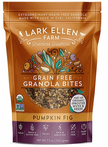 Lark Ellen Farm  Organic Grain Free Granola Bites Gluten Free   Pumpkin Fig Perspective: front