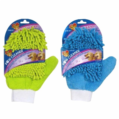 Paw Cleaner-Microfiber and Chenille Grooming Glove (Color May Vary) Perspective: front