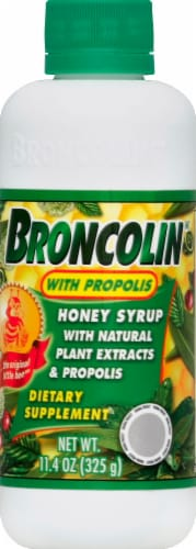 Broncolin Honey Syrup with Propolis Dietary Supplement Perspective: front