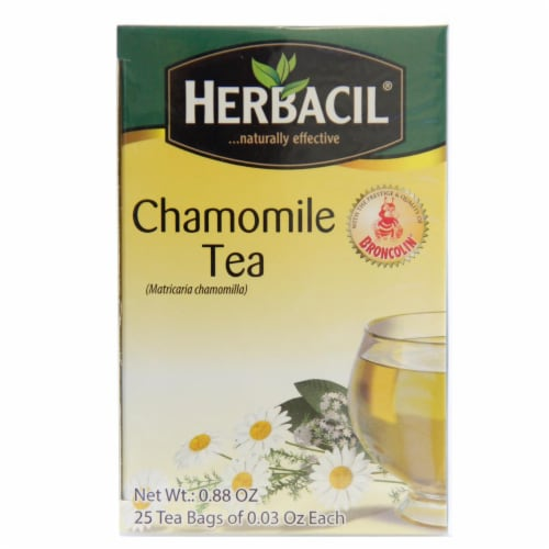 Herbacil Chamomile Tea Bags 25 Count Perspective: front