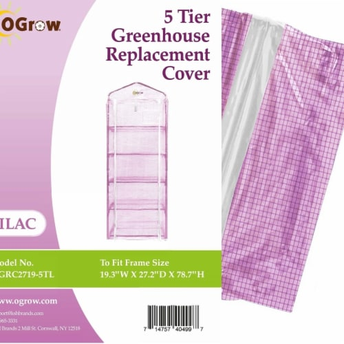 Ogrow OGRC2719-5TL 5-Tier Greenhouse PE Replacement Cover - 19.3 x 27.2 x 78.7 in. Perspective: front