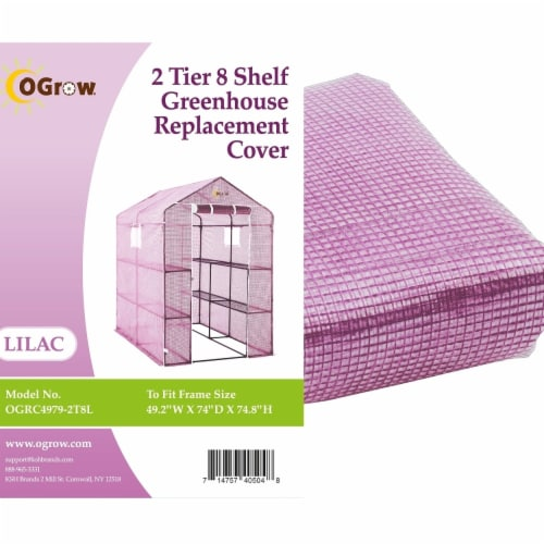 Ogrow OGRC4979-2T8L 2 Tier Greenhouse PE Replacement Cover, 8 Shelf - 49.2 x 74 x 74.8 in. Perspective: front