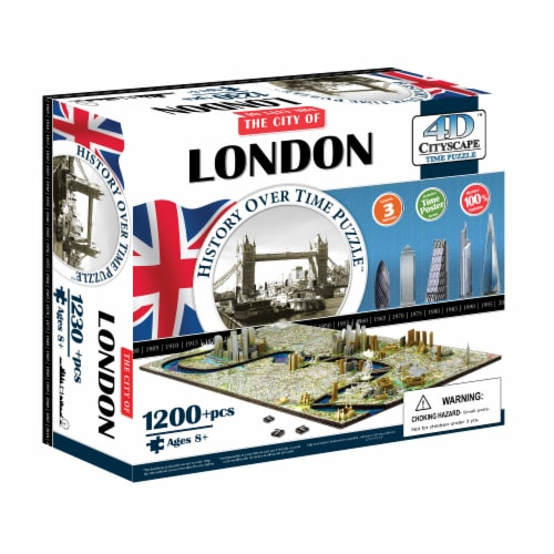 4D Cityscape London England History Over Time Puzzle Perspective: front