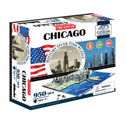 4D Cityscape Chicago History Over Time Puzzle Perspective: front