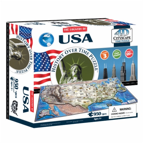4D Cityscape USA History Over Time Puzzle Perspective: front