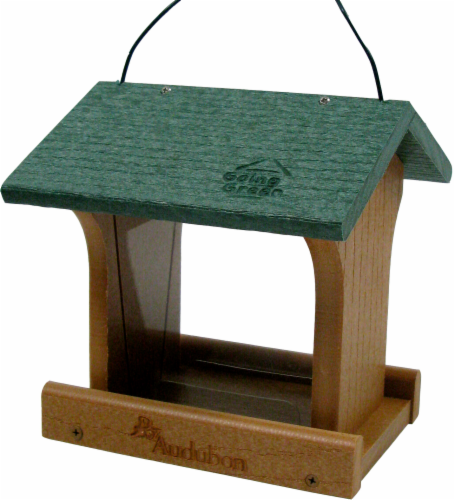Audubon Recycled Plastic Bird Feeder -Brown/Green Perspective: front