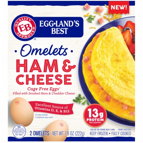 Eggland's Best Ham & Cheese Fully Cooked Omelets Perspective: front
