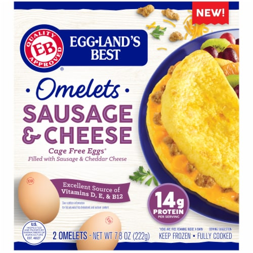 Eggland's® Best Sausage & Cheese Fully Cooked Omelets Perspective: front