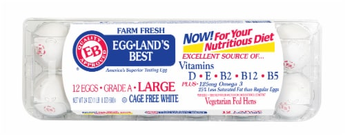 Eggland's Best Farm Fresh L Cage Free White Eggs Perspective: front