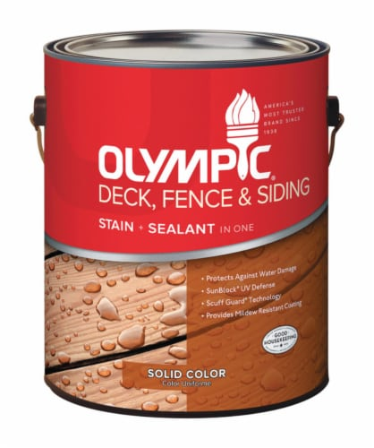 Olympic® Deck Fence & Siding Solid Color Navajo Red Stain and Sealant Perspective: front