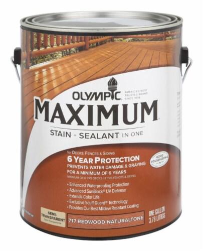 Olympic® Maximum Semi-Transparent Semi-Gloss Redwood Natural Tone Deep Base Acrylic Stain + Sealant Perspective: front
