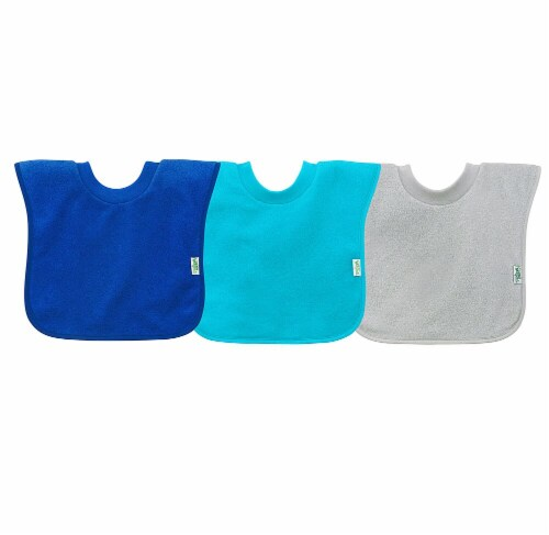 Green Sprouts  Pull-over Stay-dry Toddler Bib-Blue Set-9/18mo Perspective: front