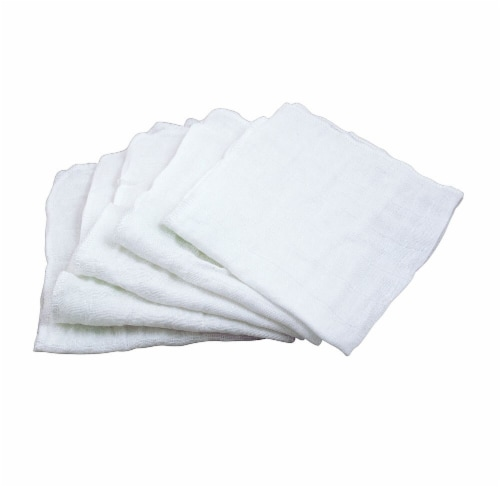 "Green Sprouts Muslin Organic Cotton Face Cloths - White Set - 12"" x 12"" Perspective: front"